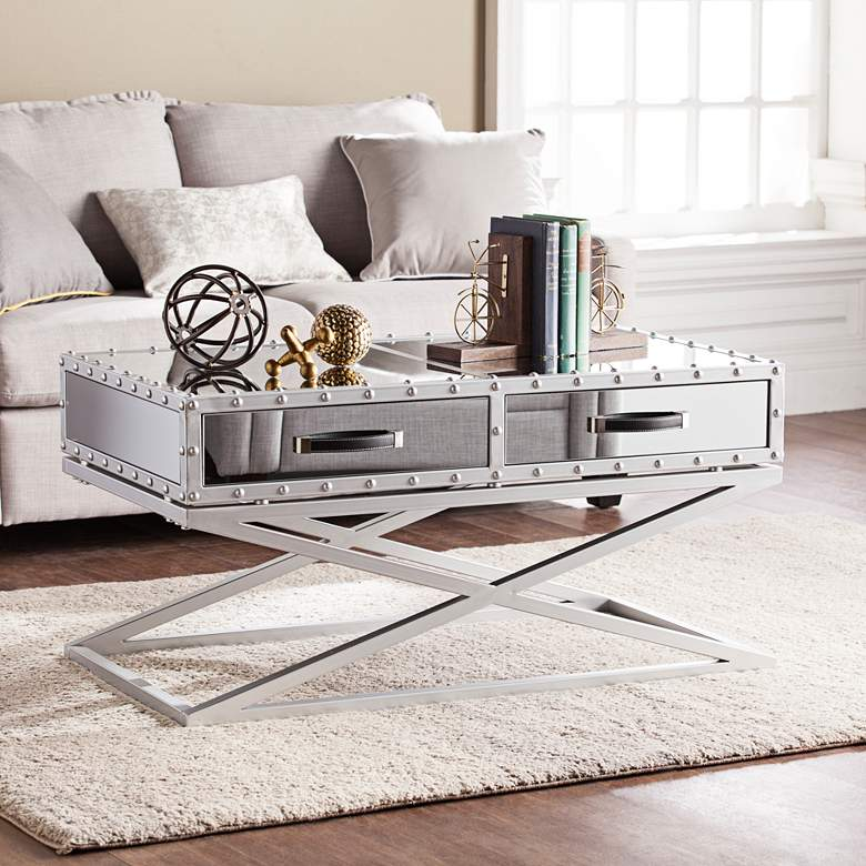 """Lazio 40 1/2"""" Wide Mirrored 2-Drawer Modern Cocktail Table"""