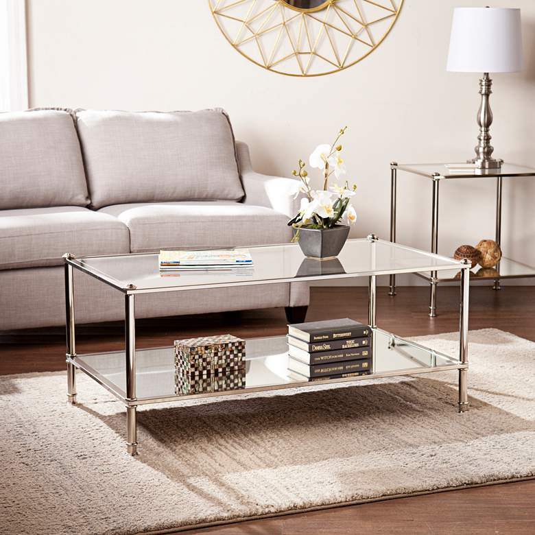 "Paschall 42 1/2"" Wide Metallic Silver Cocktail Table"