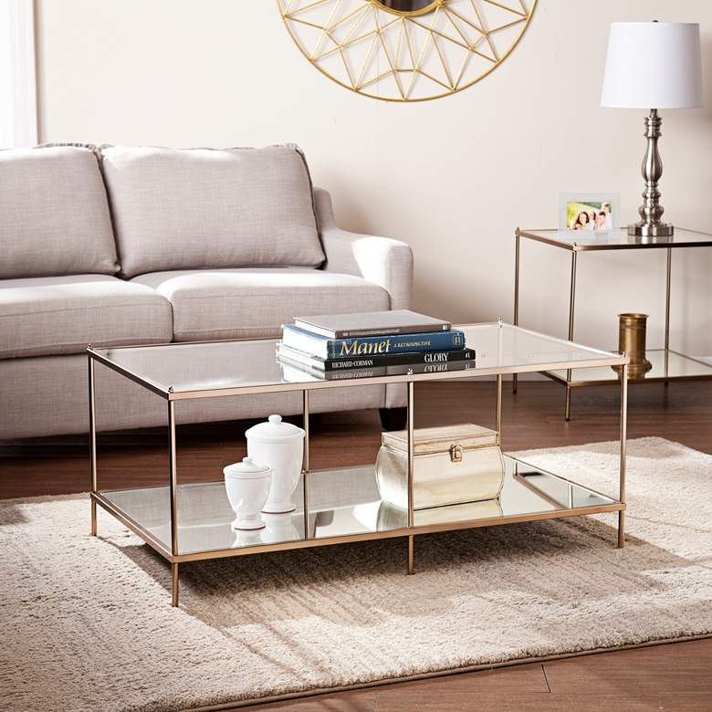 """Knox 42 1/4"""" Wide Metallic Gold Modern Cocktail Table"""