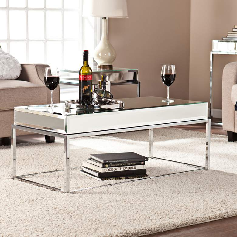 """Dana 43"""" Wide Mirrored and Chrome Modern Cocktail Table"""