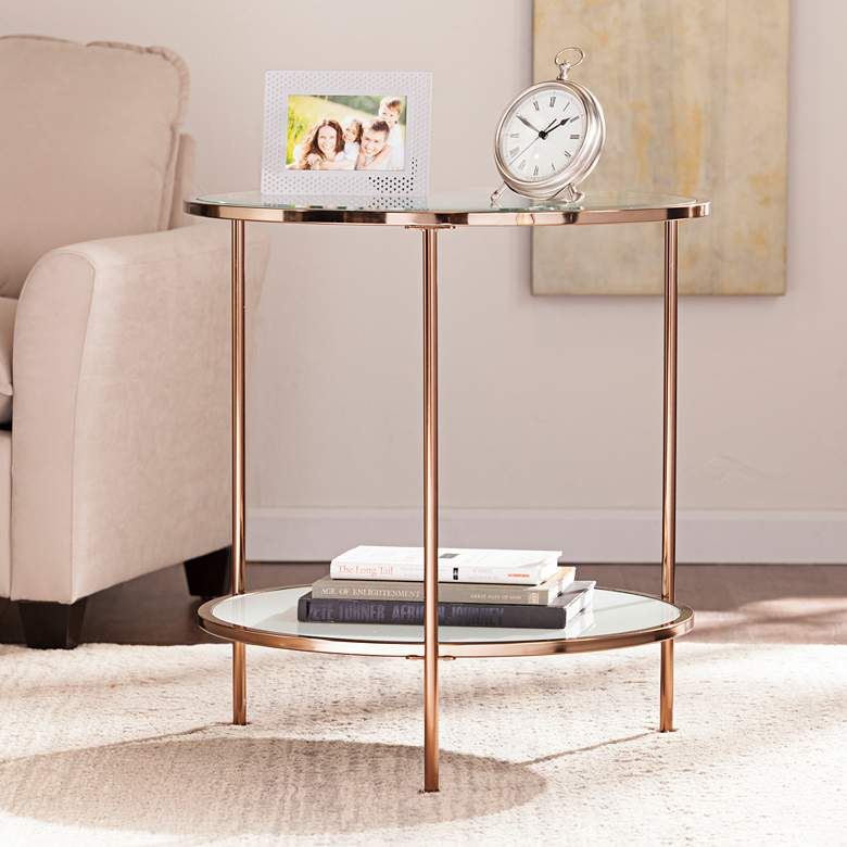 """Risa 24 1/4"""" Wide Metallic Gold End Table"""