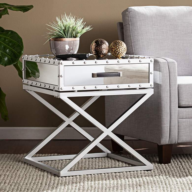 """Lazio 23"""" Wide Mirrored 1-Drawer Modern End Table"""
