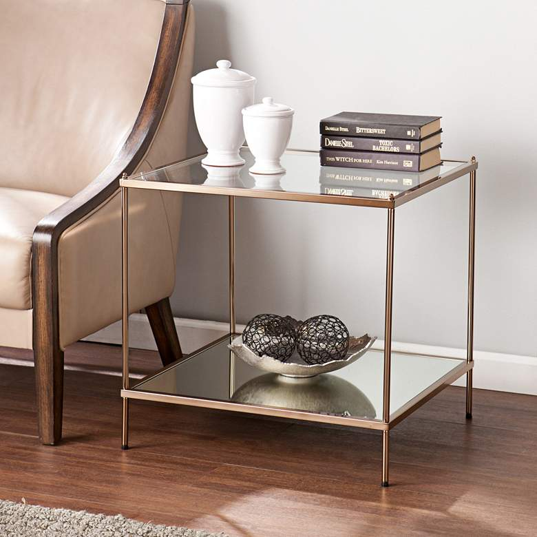 """Knox 22 1/4"""" Wide Metallic Gold End Table"""