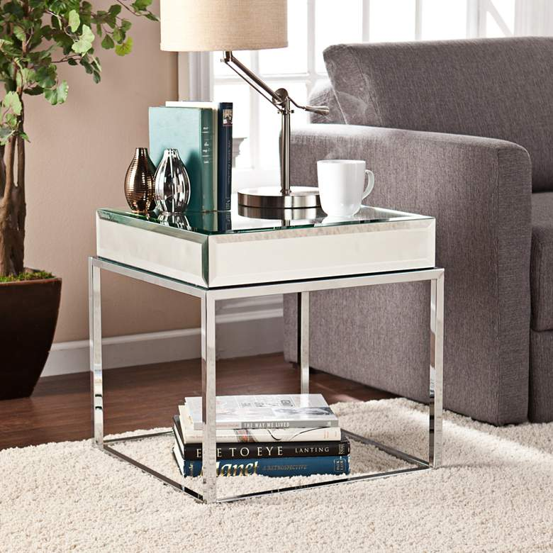 "Dana 21"" Wide Mirrored and Chrome End Table"