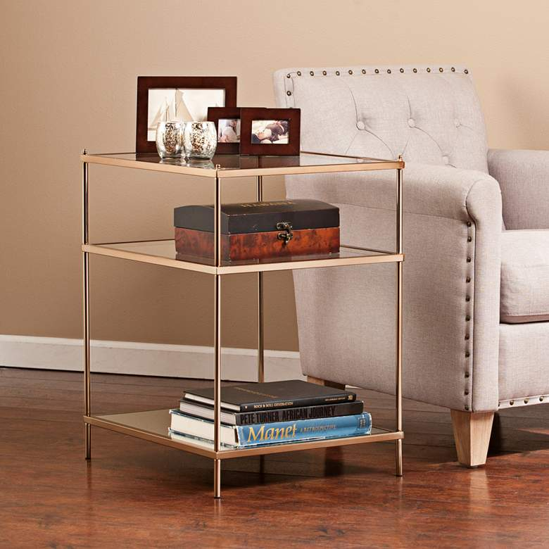 "Knox 22"" Wide Metallic Gold Side Table"