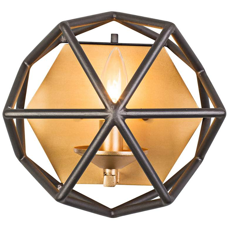 """Varaluz Geo 8"""" High Antique Gold Wall Sconce"""