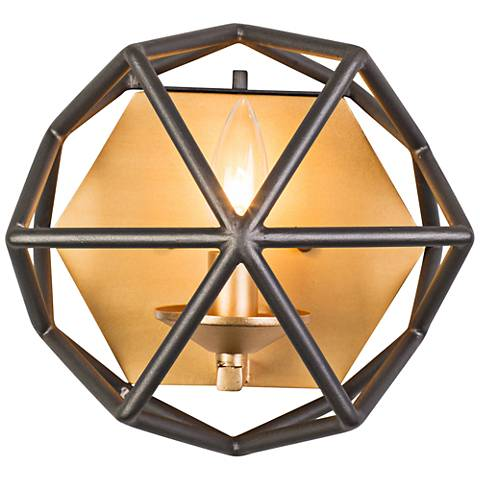 "Varaluz Geo 8"" High Antique Gold Wall Sconce"