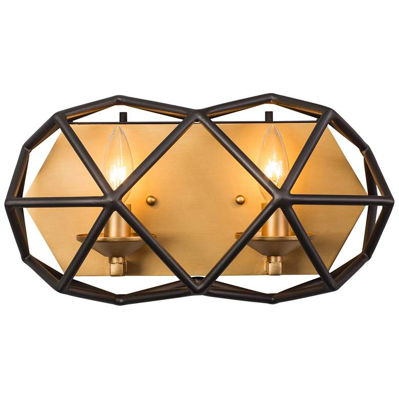 "Varaluz Geo 8"" High Antique Gold 2-Light Wall"
