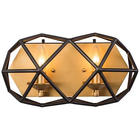 "Varaluz Geo 8"" High Antique Gold 2-Light Wall Sconce"