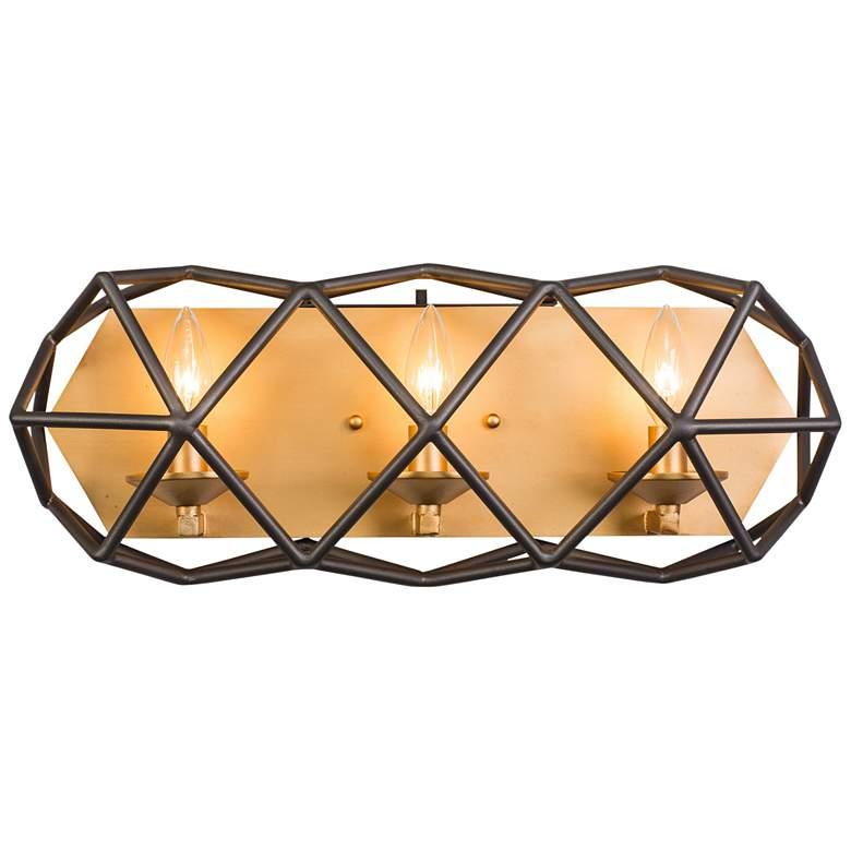 "Varaluz Geo 20 1/2"" Wide Antique Gold 3-Light Bath Light"