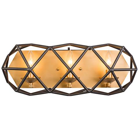 "Varaluz Geo 20 1/2"" Wide Antique Gold 3-Light Bath Light"