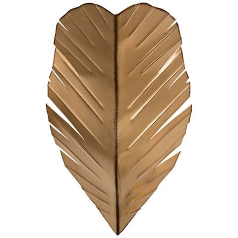 "Varaluz Banana Leaf 17"" High Traopical Gold Wall Sconce"