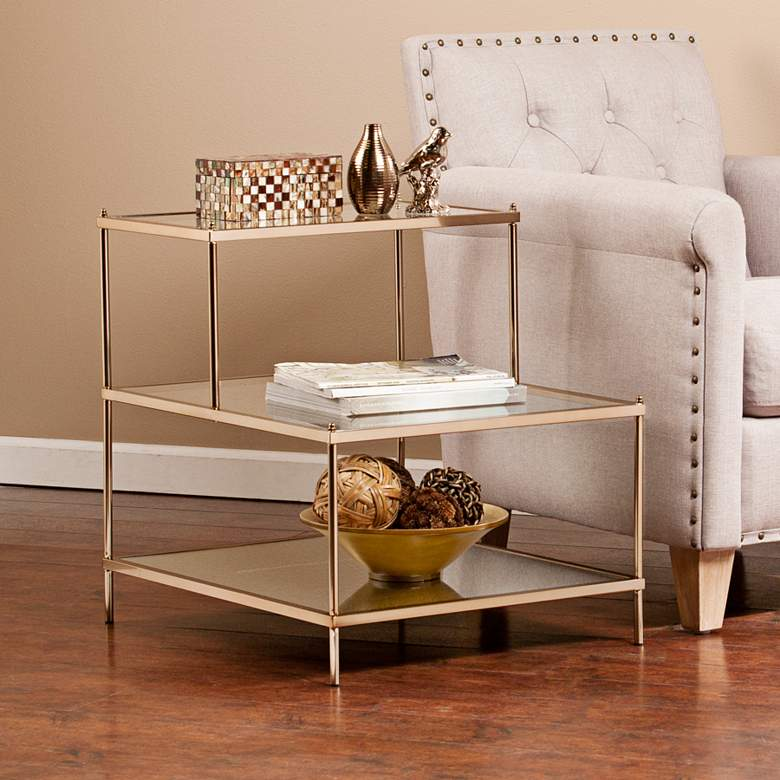 """Knox 20 1/2"""" Wide 3-Tier Gold and Glass Accent Table"""