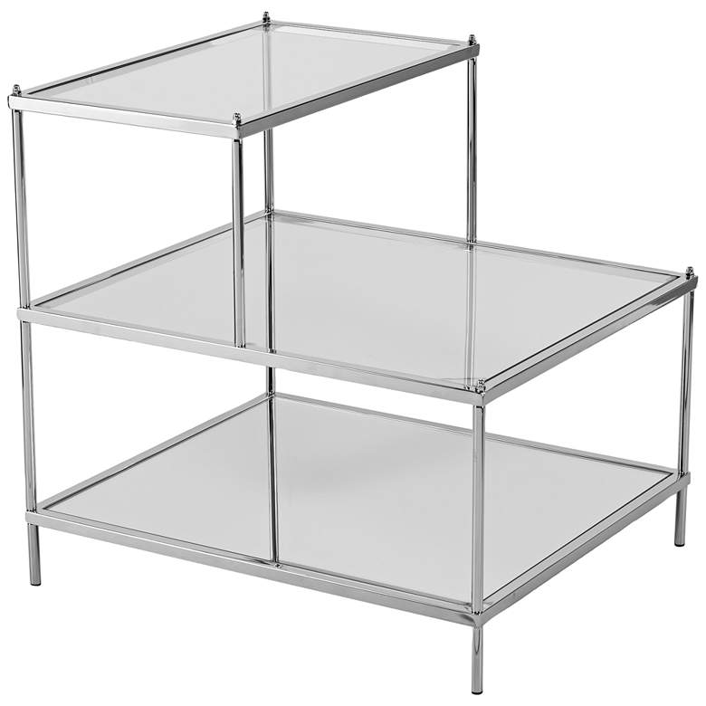"""Knox 20 1/2"""" Wide 3-Tier Chrome and Glass Accent Table"""
