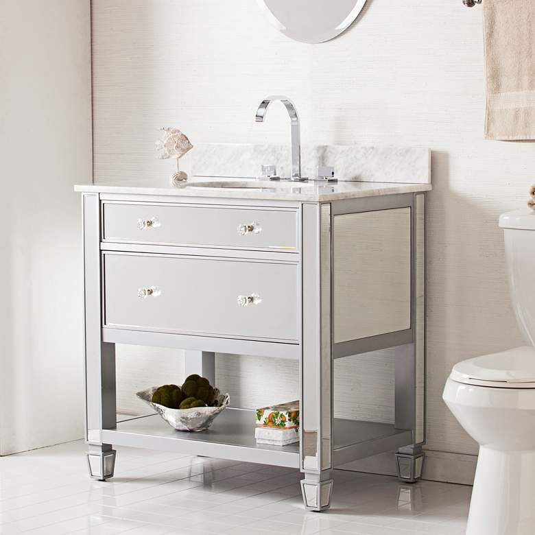 "Mirage 33"" Mirrored and Silver 1-Drawer Single Sink Vanity"