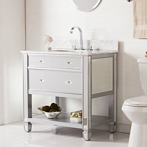 """Mirage 33"""" Mirrored and Silver 1-Drawer Single Sink Vanity"""