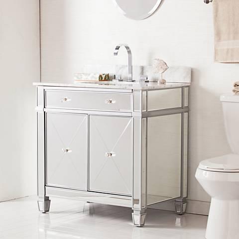 """Mirage 33"""" Mirrored and Silver 2-Door Single Sink Vanity"""