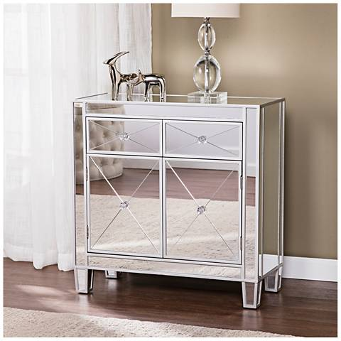 Mirage Mirrored and Metallic Silver 2-Drawer Cabinet