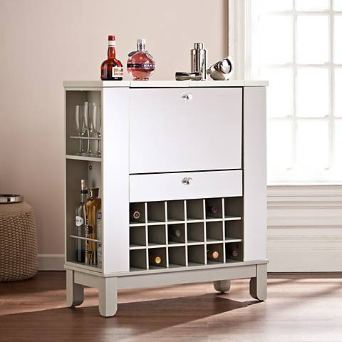 Mirage Mirrored and Silver 1-Drawer Wine and Bar Cabinet