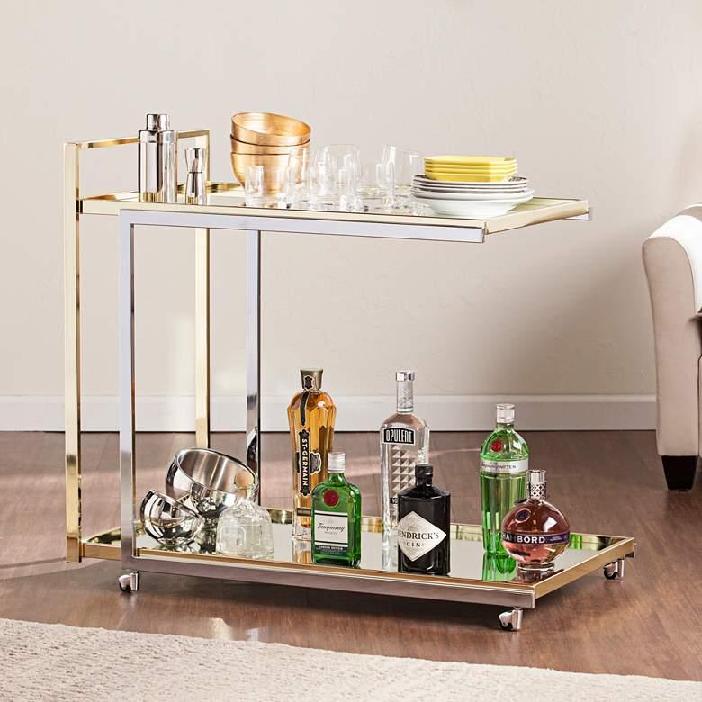 "Riata 36"" Wide Metallic Silver and Gold Luxe Modern Bar Cart"