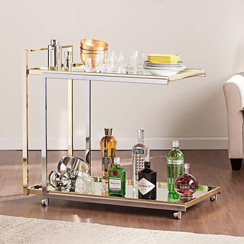 Riata Metallic Silver and Gold Bar Cart