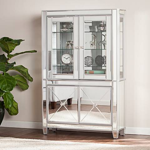 Mirage Mirrored 2-Door LED Lighted Curio Cabinet