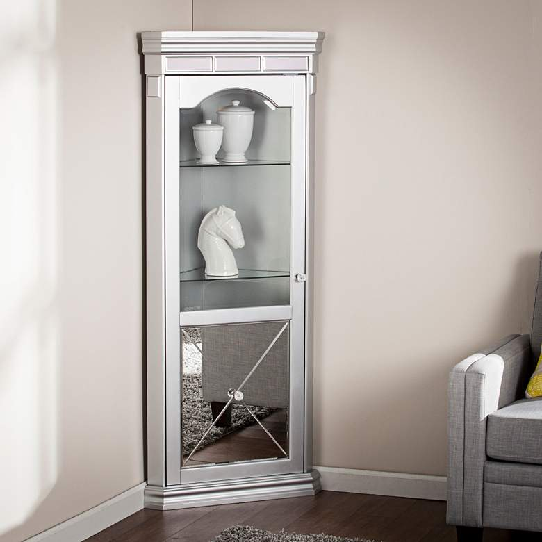 Mirage 25 3 4 Wide Corner Curio Cabinet With Led Light