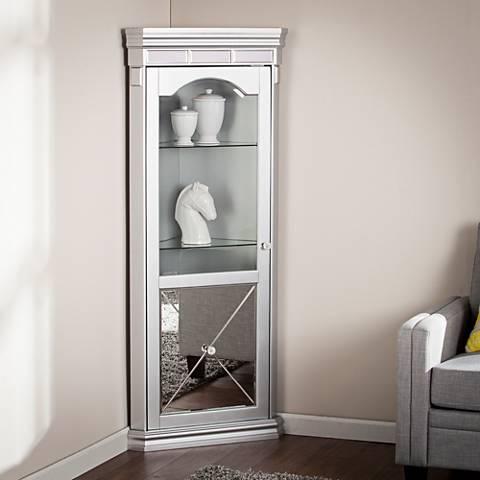 Mirage Matte Silver 1-Door LED Lighted Corner Curio Cabinet