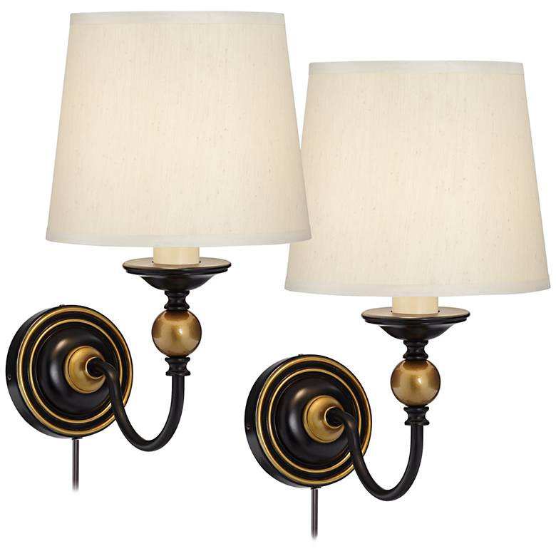Crow Black and Antique Brass Ball Pin Up Wall Lamps Set of 2