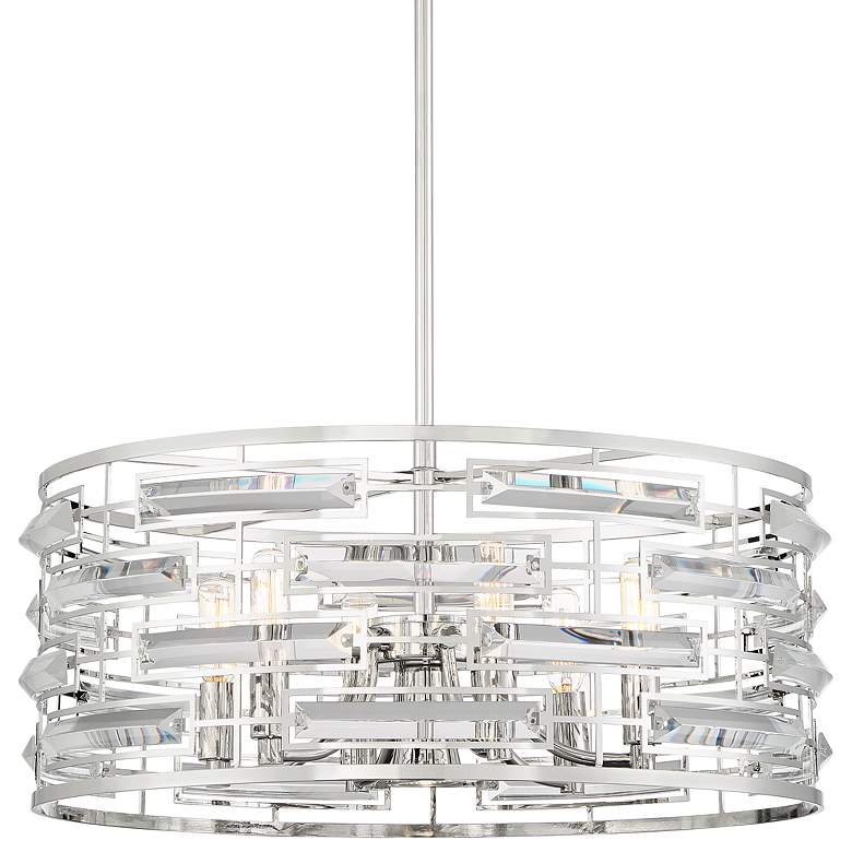 "Smart 20"" Wide Polished Nickel and Crystal Pendant Light"