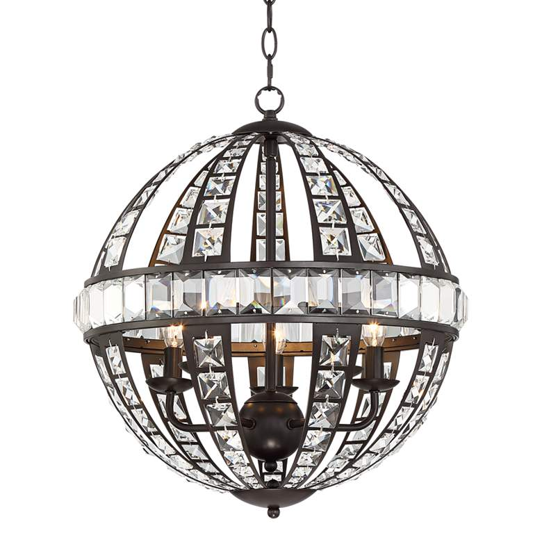 """Horford 17 1/2""""W Oil-Rubbed Bronze and Crystal Pendant Light"""