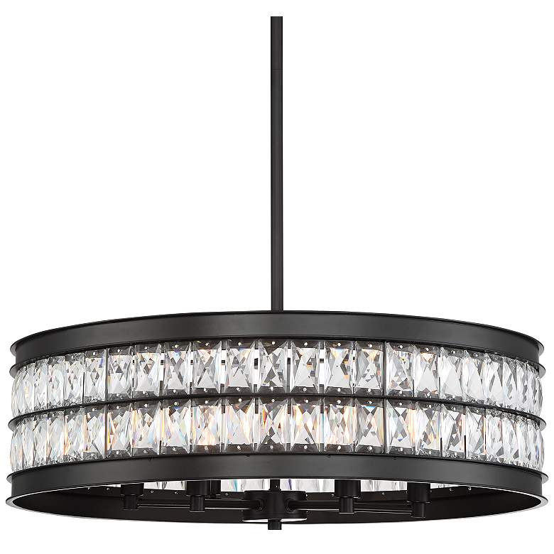 """Jaylen 23 1/2""""W Oil-Rubbed Bronze and Crystal Pendant Light"""