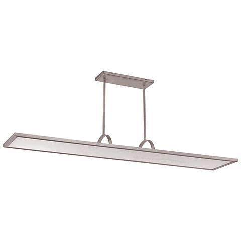 """Line 48"""" Wide Brushed Aluminum Soft White LED Island Pendant"""