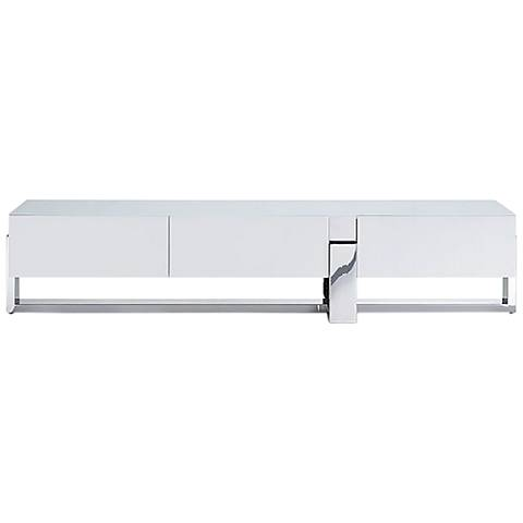 Blake Matte White and Stainless Steel 3-Door TV Unit
