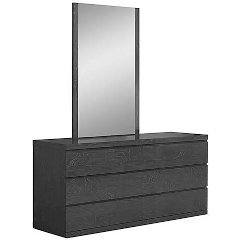 Anna High-Gloss Gray 6-Drawer Double Dresser
