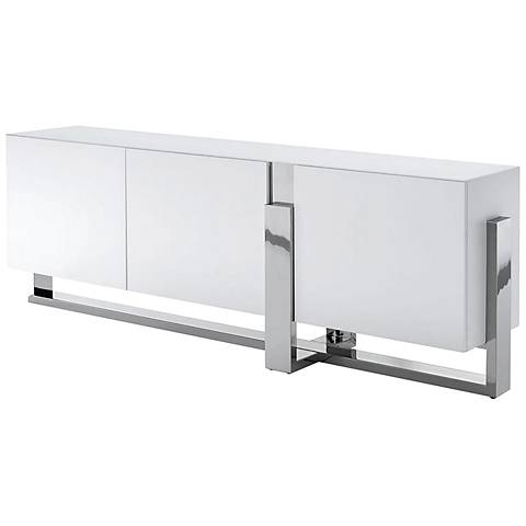 Blake Matte White and Polished Stainless Steel 3-Door Buffet