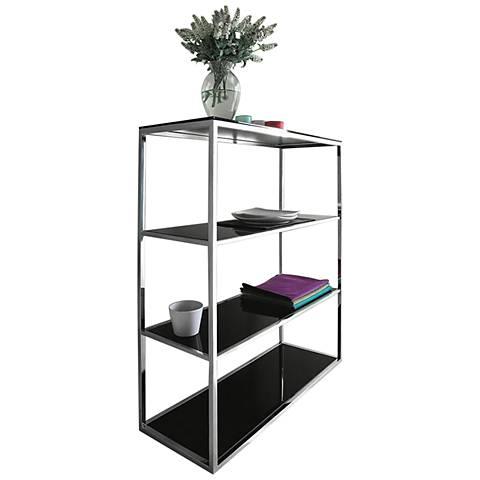 Calypso Black and Silver 3-Shelf Bookshelf