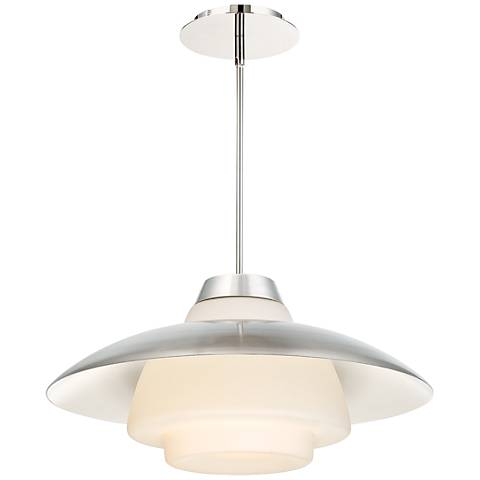 "dweLED Deco 20"" Wide Polished Nickel LED Pendant Light"