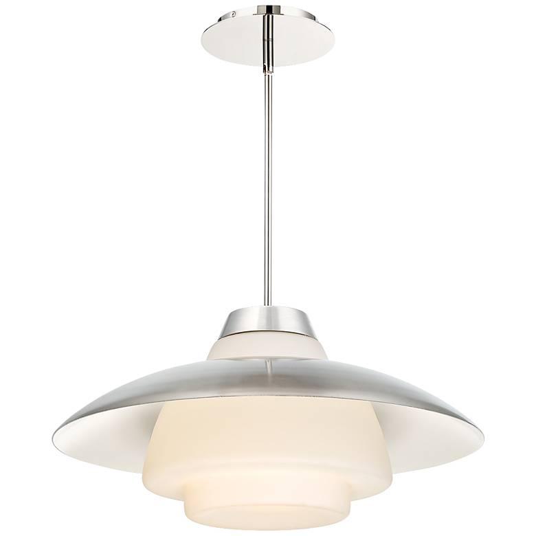 """dweLED Deco 20"""" Wide Polished Nickel LED Pendant Light"""
