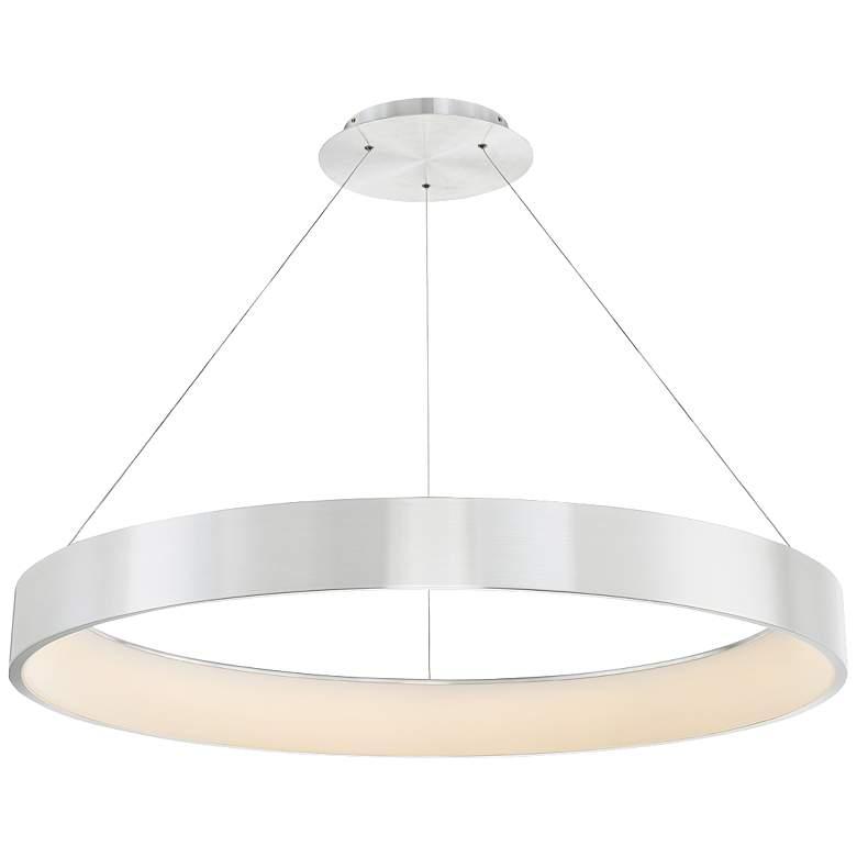 """dweLED Corso 43"""" Wide Brushed Aluminum LED Pendant Light"""