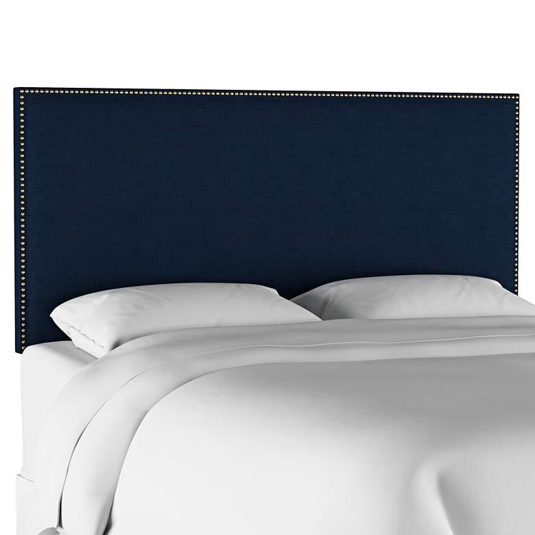 Terese Navy Linen Fabric Queen Headboard