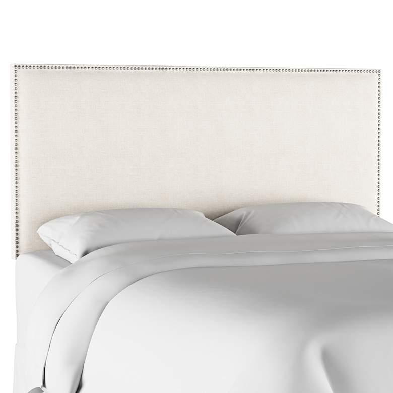 Terese Talc Linen Fabric Queen Headboard