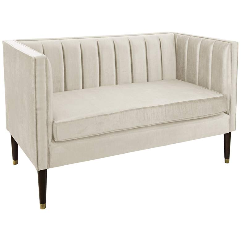 Lauren Majestic Oyster Fabric Settee with Channel Seams