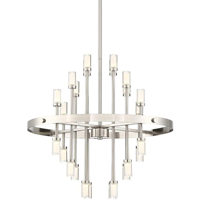 """Glenrose 26""""W Brushed Nickel 24-Light LED Pendant Light"""