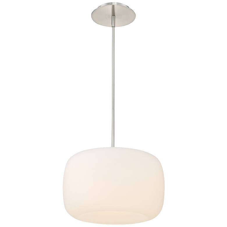 """dweLED Mallow 14"""" Wide Brushed Nickel LED Pendant Light"""