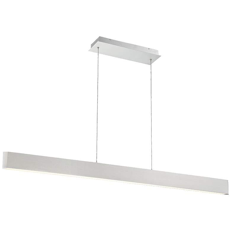 """dweLED Volo 54"""" Wide Brushed Aluminum LED Linear Pendant"""