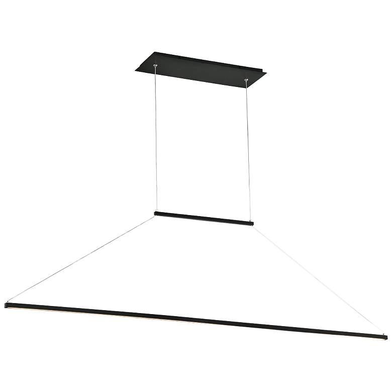 "E=MC2 47"" Wide Black Linear LED Kitchen Island Light Pendant"