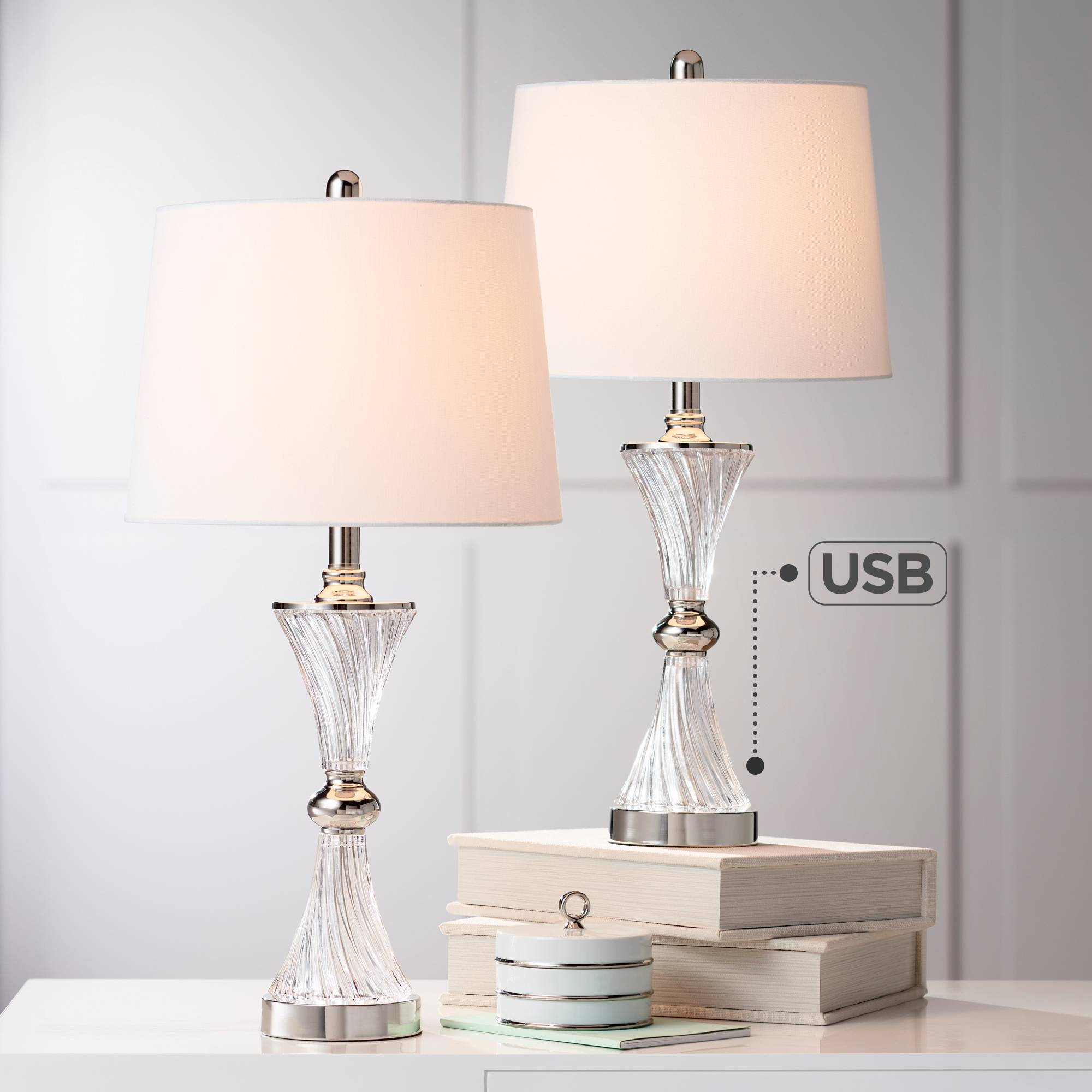 7267f38dca3d1 Modern Table Lamps Set of 2 with USB Chrome and Glass for Living ...