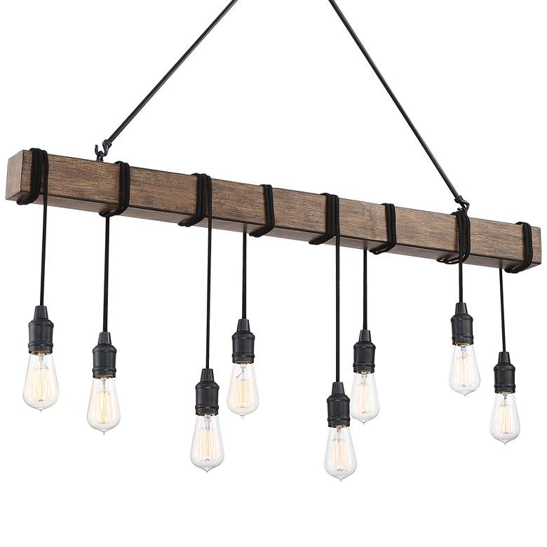 "Tomas 42 1/4""W Black Wood Grain Kitchen Island Light Pendant"
