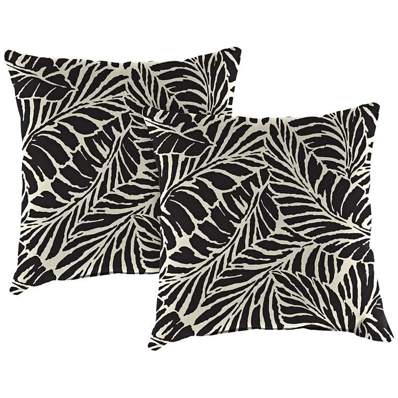 "Malkus Ebony 18"" Square Outdoor Toss Pillow Set of 2"